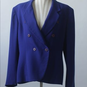 "Vintage ""Jones NY"" 100% Wool Royal Blue Blazer"